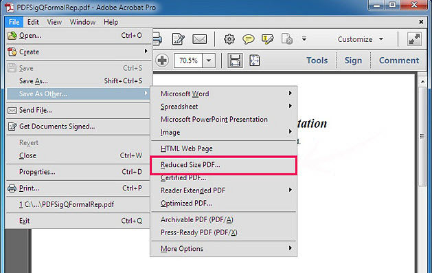 How to compress pdf file or reduce file size pdfmate compress pdf with adobe acrobat ccuart Images