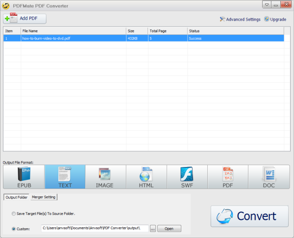 PDFmate free pdf to text converter