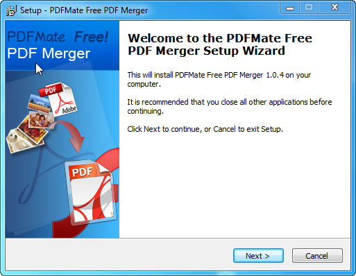 PDFMate PDF Merger Welcome