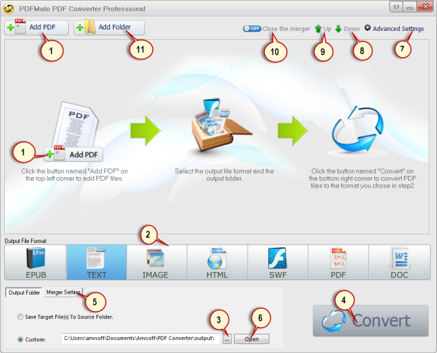 PDFMate PDF Converter Pro. Interface